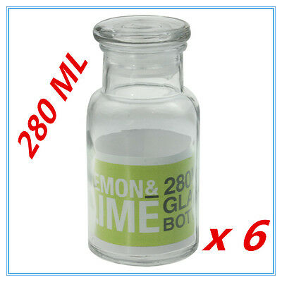 6 X Small Sealed Glass Bottles 280Ml W/h Glass Lid Milk Wedding Party Candy A