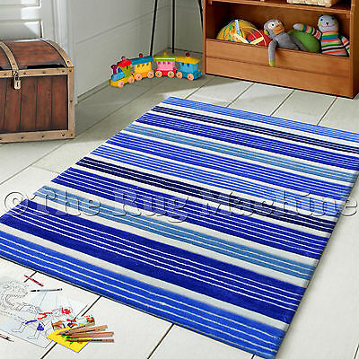 HIP HOP KIDS MULTI STRIPES BLUE THICK ACRYLIC FLOOR RUG 115x165cm **NEW**