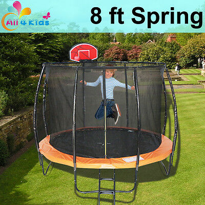 8 FT Round Spring Trampoline with Ladder Safety Net & Basketball Board