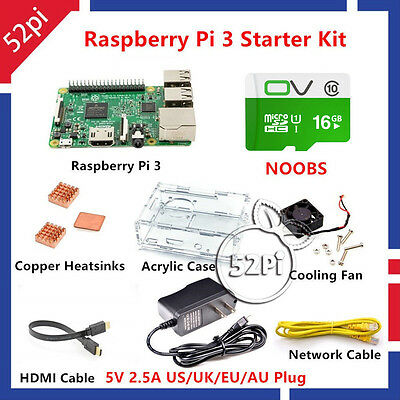 Raspberry Pi 3 Model B 1GB RAM Quad Core 1.2GHz CPU Starter Kit with 16G NOOBS