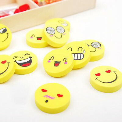 12x Smiling Face Expression Rubber Pencil Radiergummi Party Favor Gift Child Kid