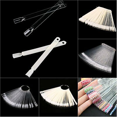 50 Clear Fals Nail Art Tips Colour Pop Sticks Display Fan Practice Starter Ring