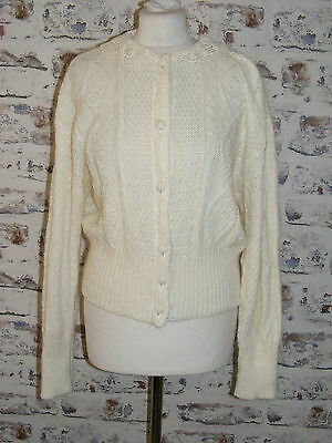 Size 14-16 vintage 80s puff sleeve cardigan lace collar cable knit mohair (GP90)