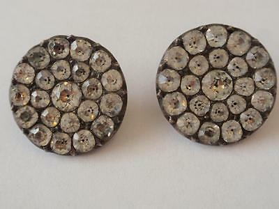 Antique Georgian Pair Of  Silver & Paste Buttons  C.  1820