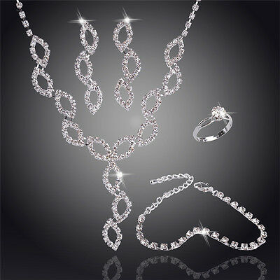 Wedding Jewelry Set Christmas Jewellery Crystals Necklace Earrings Bracelet Ring