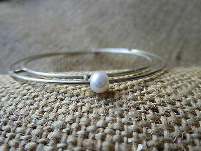 Handmade 925 Sterling Silver And Freshwater Perl Cosmic Handmade Bangle