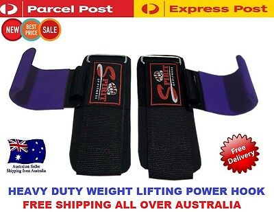 Heavy Duty Weight Lifting Gym Training Wrist Support Straps Hooks Bar Gloves NEW