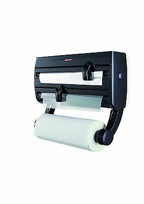 Leifheit Black Parat F2 Wall Mounted Foil Cling Film Kitchen Roll Holder Cutter
