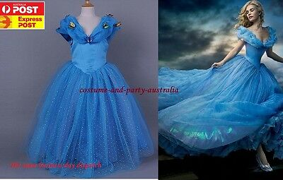 C4 Cinderella Kid Girl Princess Dress Formal Birthday Party Costume + Crown