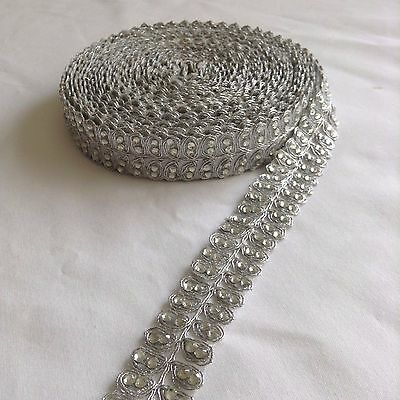 Vintage Beaded Indian Silver Lace Trim Bridal Ribbon Sewing Edge Craft Trimmings
