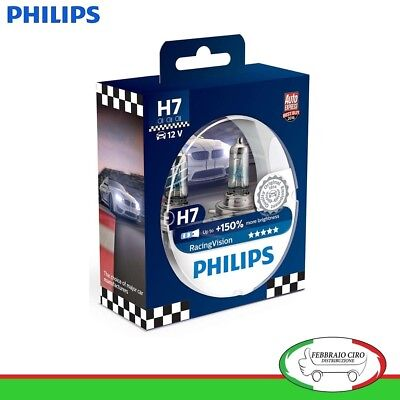 Kit Lampade Philips H7 Racing Vision +150% di Luminosità 12 V 55 W - 12972RVS2