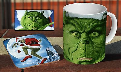 The Grinch Christmas Movie Ceramic Coffee MUG + Wooden Coaster Set