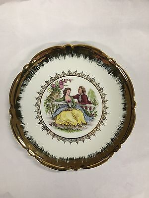 VINTAGE LIMOGES PLATE - COURTING COUPLE - made in France 15.5cm