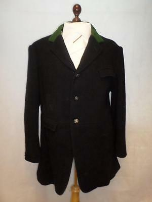 "*VINTAGE HARRY HALL HUNT COAT/JACKET BLACK W/ GREEN COLLAR. 44"" Size Chest*"