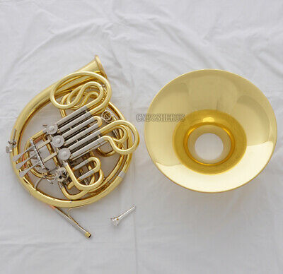 Concert Professional Double 3+1 Valves French Horn Gold F/Bb Keys With Case