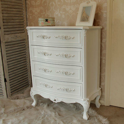 White rose design chest of drawers vintage chic style home furniture bedroom