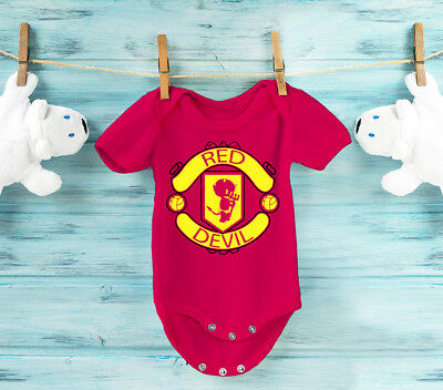 Baby's Manchester United Red Devil babygrow. Very cute!