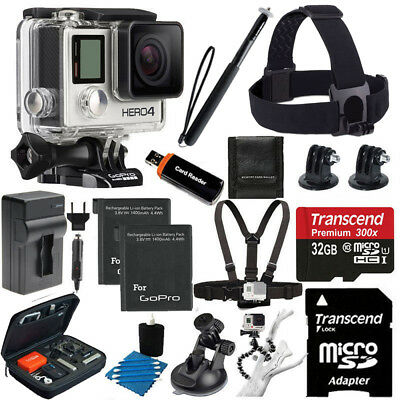 GoPro HERO4 Silver Edition + 2 Battery +Head Strap + 32GB Full Top Accessory Kit