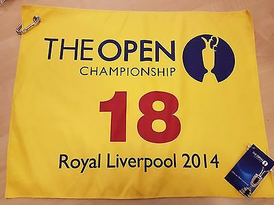 The Open Championship Royal Liverpool 2014 18th Hole Yellow Pin Towel EB44