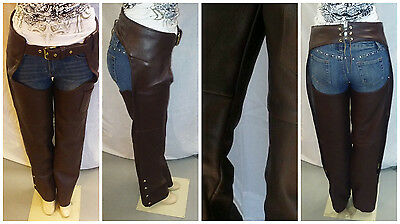 607 USA Made Brown Leather Chaps - Unisex