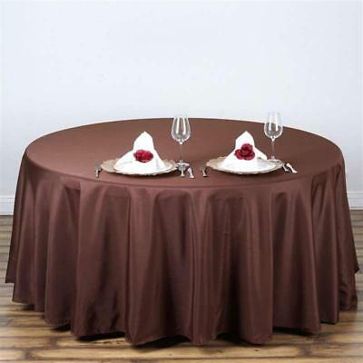"Chocolate 108"" Seamless Polyester Round Tablecloth ~NEW~ Wedding Party Banquet"