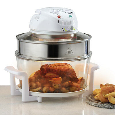 Koölle White 17L Halogen Oven with Accessories Powerful 1400W & Self Clean Mode