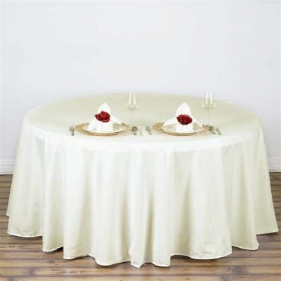 "Ivory 108"" Seamless Polyester Round Tablecloth ~NEW~ Wedding Party Banquet"