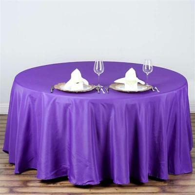 "Purple 108"" Seamless Polyester Round Tablecloth ~NEW~ Wedding Party Banquet"