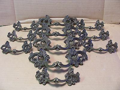 (11) Antique / Vintage Solid Brass Drawer Pulls / Handles  - Curved - 2 Sizes
