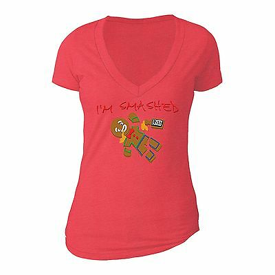 Gingerbread man Smashed - UGLY CHRISTMAS Shirt Party Women Vneck T-shirt Red