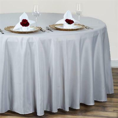 Silver 120 in. Polyester Seamless Tablecloth~Wedding~NEW