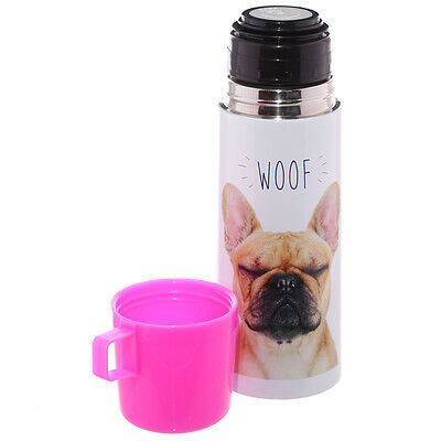 "Stainless Steel Drinks Flask French Bulldog Design ""Woof"" 350 ml size"