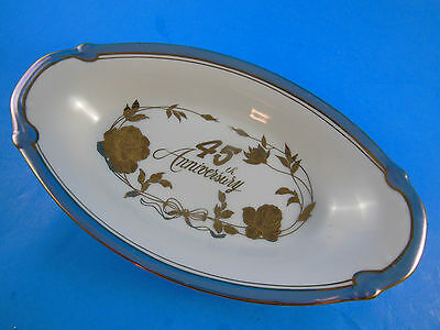 Vintage Japan Norcrest Fine China 45th Wedding Anniversary Oval bowl Dish 8""