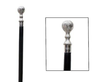 Ball Handle Wooden Walking Stick Cane Brass Handle Nickle Finish