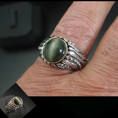 Cats Eye quartz 2.18 Ct Antique style unisex Ring Sterling Silver