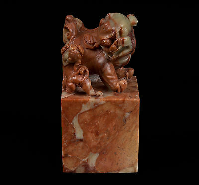 China 20. Jh. Speckstein Siegel A Chinese Carved Soapstone Seal - Chinois Cinese