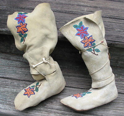 Old Piegan Blackfeet Indians boot moccasins white hide beads Plains Indian #5692