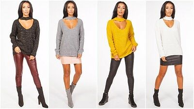 New Womens Long Sleeve Choker Lurex Loose Knitted Sweater Ladies Casual Jumper