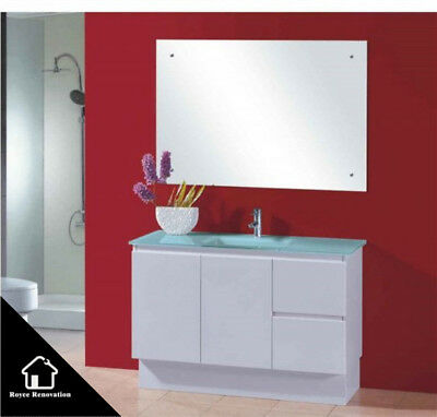 Green Glass Top Vanity With Two Sizes Soft Close Door Modern Design