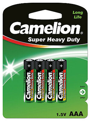 Camelion 10000403 R03 AAA Micro Super Heavy Duty Battery (Pack of 4)