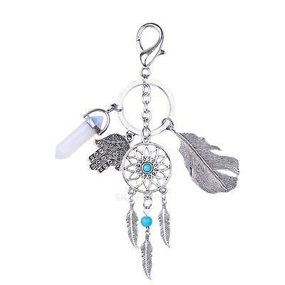 New Hot Metal Key Chain Ring Feather Tassels Dream Catcher Keyring Keychain