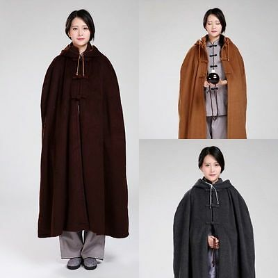 Winter Thickened Warm Velvet Buddhist Meditation Zen Monk Lay Long Cloak Robe