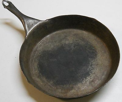 "Vintage Metal Fry Pan 11"" Diameter Handle Decorative Bake Campfire"