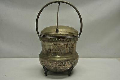 Vintage Silver on Copper Footed Ice Bucket w/ Vacuum Insulated Liner