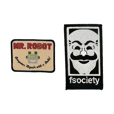 MR Robot FSOCIETY TV Show Embroidery SET of 2 patches Tan Easy Iron/Sew On