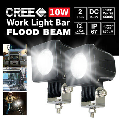 2PCS 10W CREE LED Work Light Bar Flood Beam 4WD Reverse Lamp 12V 24V New Brand