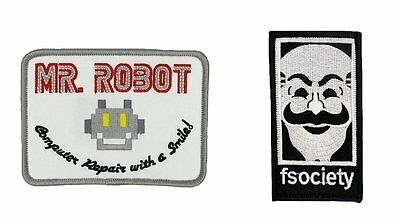 Mr Robot FSOCIETY TV Series Patch | Iron On Set Of 2 | US Seller - FREE Shipping