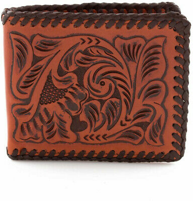 3D Western Mens Wallet Bifold Leather Floral Lacing Tooled AW127