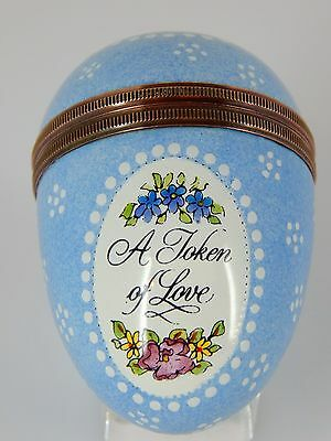 HALCYON ENAMELLED OVER COPPER EGG - Screw Lid - A Token of Love - Soft Blue