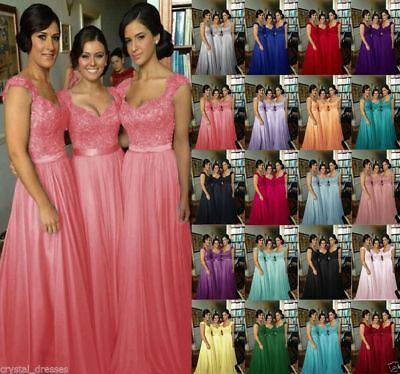 New Stock Lace Long Formal Evening Party Bridesmaid Dress Wedding Ball Gown Prom
